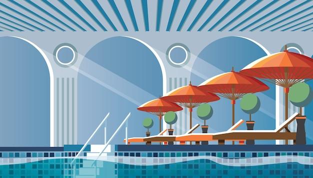 Composición plana junto a la piscina con tumbonas.