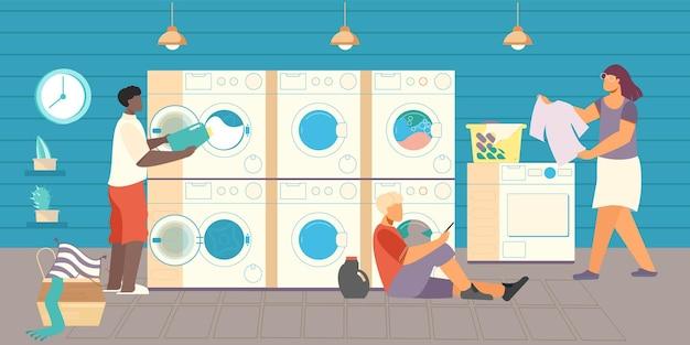 Composición plana de lavandería pública con vista de lavandería de autoservicio con lavadoras, tazones y personas