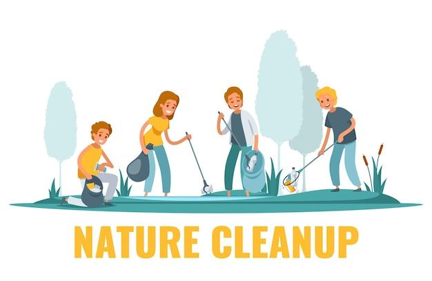 Composición plana de limpieza de la naturaleza con voluntarios recogiendo basura ilustración al aire libre
