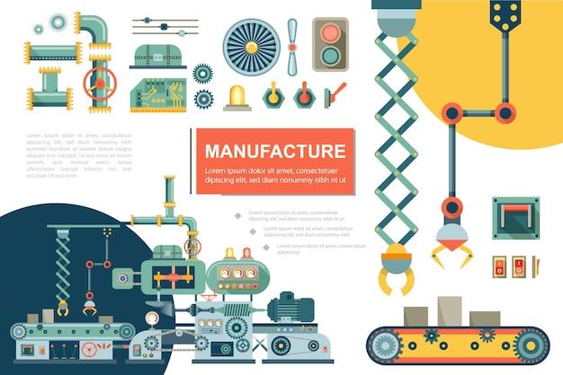 Composición plana de la línea de producción industrial con cinta transportadora, brazo mecánico, tubos de rueda dentada, botón de encendido, engranajes, eje, placa de circuito electrónico, indicadores, ilustración