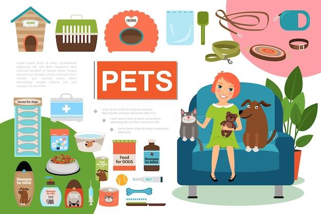 Composición plana de mascotas con niña gato y perro sentado en el sillón ilustración