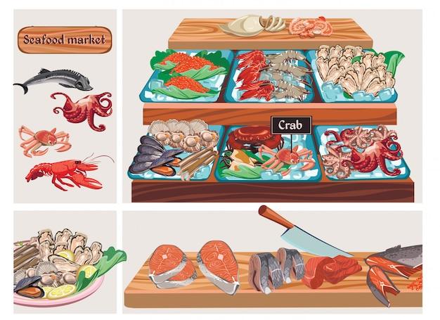 Composición plana del mercado de mariscos con esturión pulpo cangrejo langosta caviar mejillones gambas camarones calamar vieiras lucioperca salmón arenque carne de pescado en mostrador