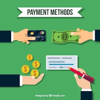 Composición plana con modos de pago tradicionales