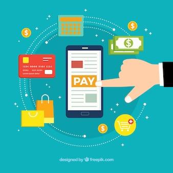 Composición plana con móvil y modos de pago