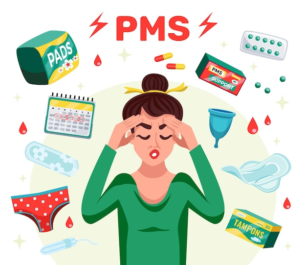 Composición plana de mujer pms con herramientas de menstruación y mujer con dolor de cabeza
