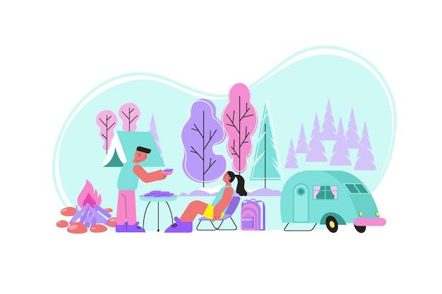 Composición plana de la naturaleza de barbacoa con una caravana de paisaje al aire libre y una pareja humana pasando un buen rato juntos