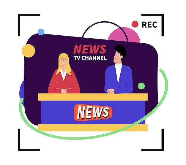 Composición plana de noticias con letreros de registro y presentadores en el canal de televisión.