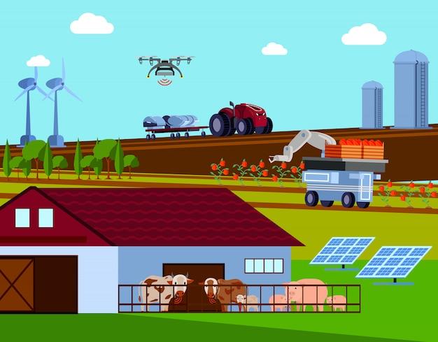 Composición plana ortogonal de agricultura inteligente
