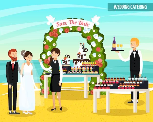 Composición plana ortogonal de catering para bodas