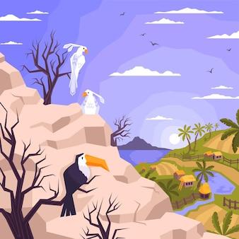 Composición plana del paisaje con vista exterior de la montaña con loros tucán sentado y vista de la ilustración de la aldea