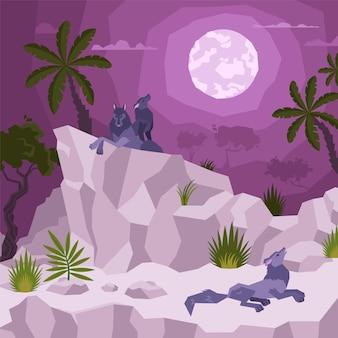 Composición plana del paisaje con vista de la noche tropical con luna y palmeras con lobos en la ilustración de los acantilados