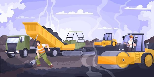 Composición plana de pavimentación de carreteras con trabajadores colocando asfalto y trabajando en máquinas