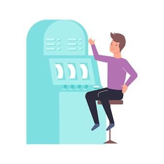 Composición plana con personaje masculino sentado frente a la ilustración de la máquina tragamonedas