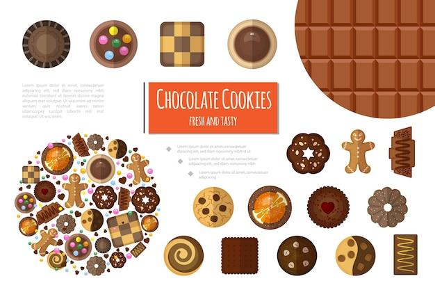 Composición plana de productos dulces con barra de chocolate y diferentes tipos de galletas de chocolate