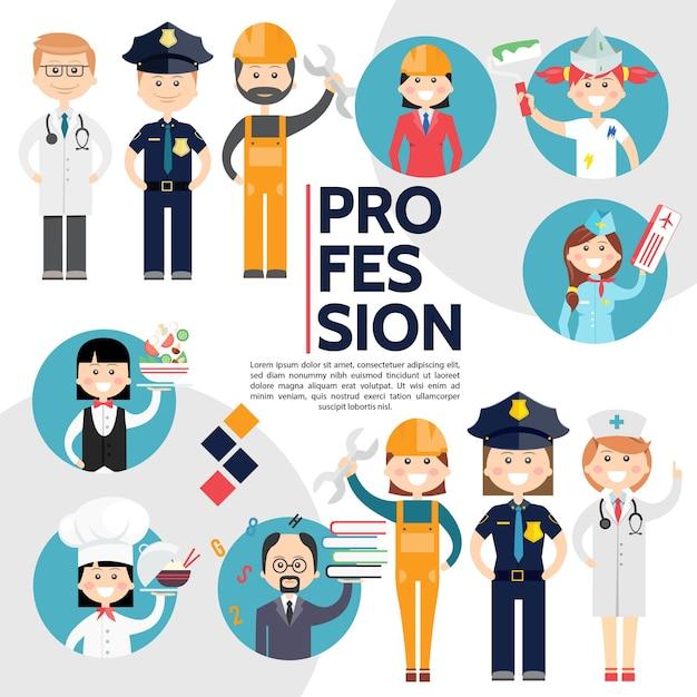 Composición plana de profesiones masculinas y femeninas con médicos, policías, constructores, ingeniero, pintor