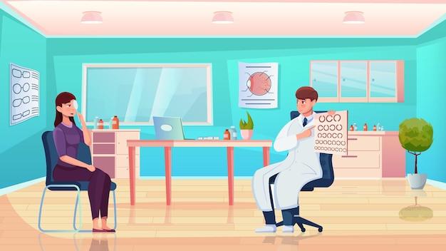 Composición plana de prueba de visión con oftalmólogo que controla la vista del paciente en la ilustración del gabinete