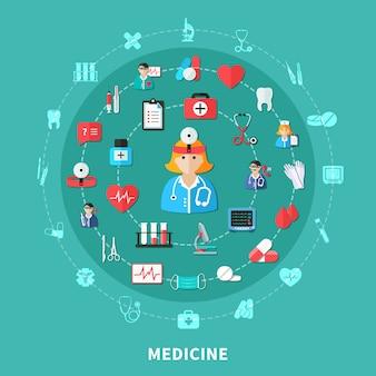 Composición plana redonda de medicina