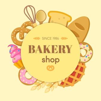 Composición plana redonda de panadería