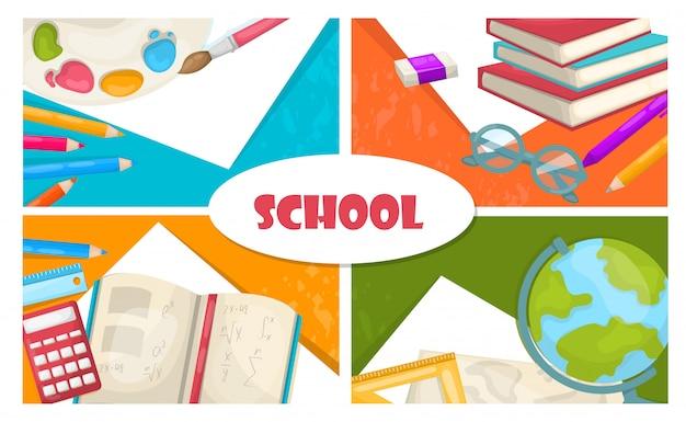 Composición plana de regreso a la escuela con lápices de colores, paleta de pintura, calculadora, regla, libro, globo, tijeras, borrador, pluma
