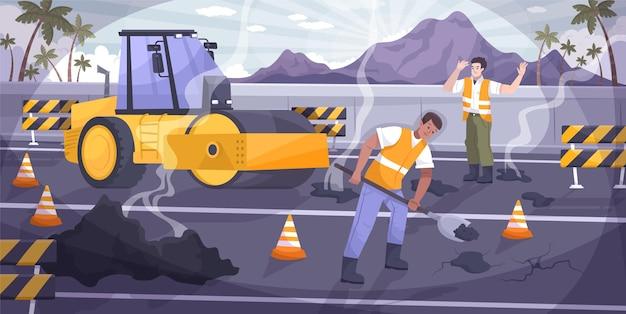 Composición plana de reparación de carreteras con dos trabajadores reparando un agujero en el asfalto