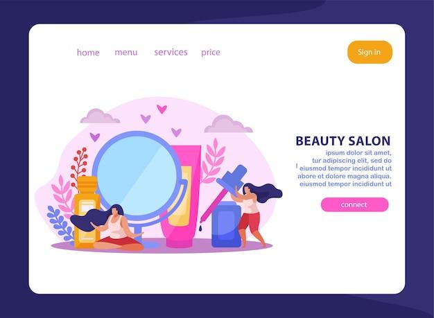Composición plana del salón de belleza o página de destino con enlaces y botón de conexión