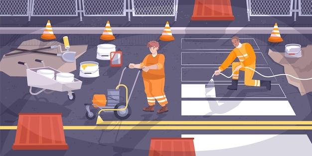 Composición plana de señalización vial con trabajadores poniendo pintura sobre asfalto
