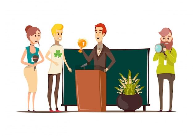 Composición plana de situaciones afortunadas con el ganador del premio detrás del podio fotógrafo reportero y periodista doodle estilo personajes vector ilustración
