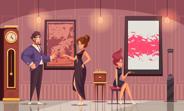 La composición plana de la sociedad superior con un hombre rico demostró su colección de arte a las mujeres jóvenes en la ilustración de vestidos de noche