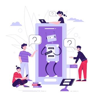Composición plana del software de inteligencia artificial de soporte técnico de chatbot con robot que responde a las preguntas de los clientes ilustración
