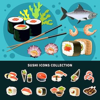 Composición plana de sushi