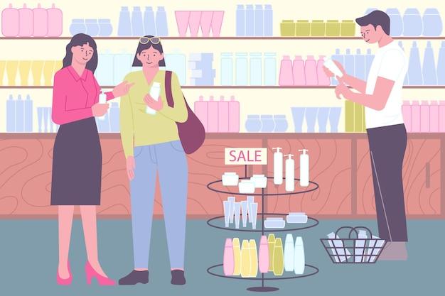 Composición plana de tienda de cosméticos con estantes de escenario de tienda interior con productos