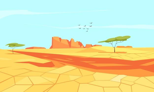 Composición plana de tierra desierta