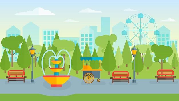 Composición plana de town park