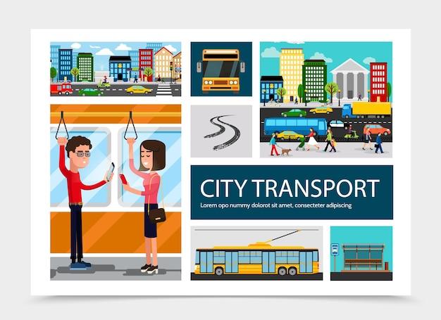 Composición plana del transporte de la ciudad con coloridos edificios automóviles que se mueven en la carretera, parada de autobús, pista de vehículos, pasajeros que viajan en transporte público aislado