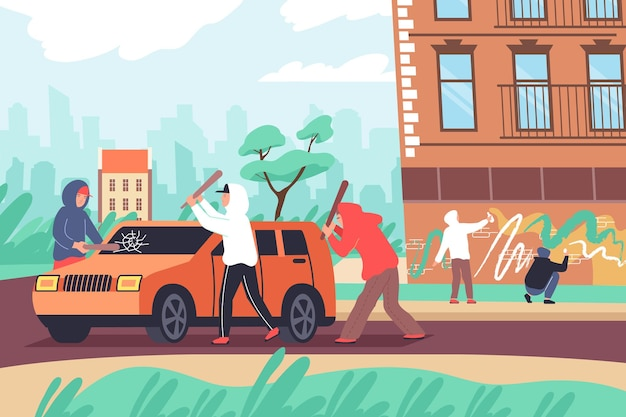 Composición plana de vandalismo con paisaje urbano al aire libre y grupo de adolescentes golpeando la ilustración de las paredes de pintura de automóviles
