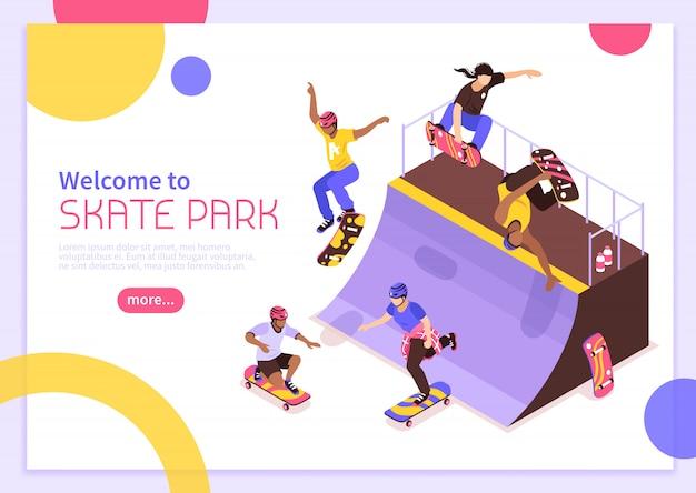 Composición de plantilla de banner de concepto de patín isométrico con imágenes de personajes de skater en cuarto de tubo con texto editable ilustración vectorial