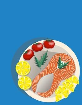 Composición de un plato con una rodaja de salmón, limón, tomates enteros y ensalada de rúcula