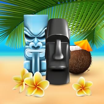 Composición de playa hawaiana kahuna