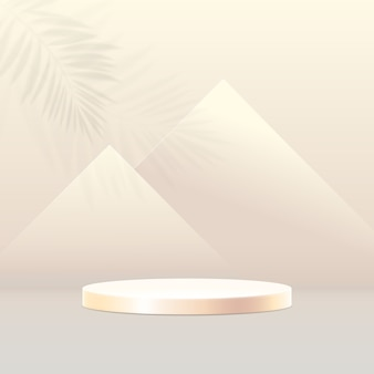 Composición de podio 3d. fondo geométrico mínimo abstracto. pirámides en concepto de egipto.