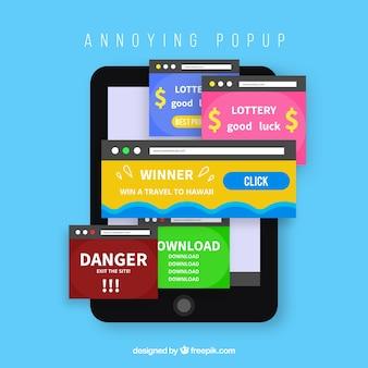 Composición de pop ups molestos con diseño plano