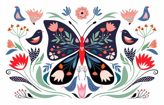 Composición de primavera con mariposas florales y elementos estacionales, flores y pájaros; cartel decorativo banner