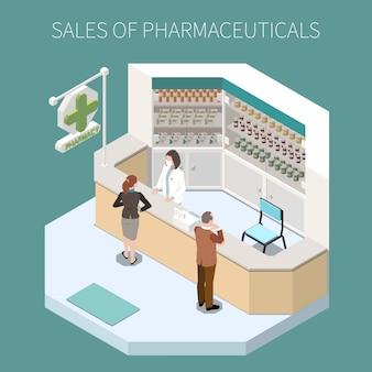 Composición de producción farmacéutica aislada con ventas de productos farmacéuticos titular e ilustración de esquina de farmacia