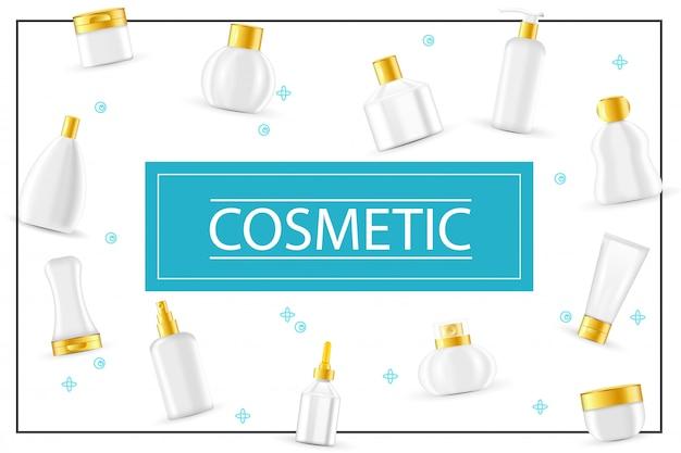 Composición de productos cosméticos realistas con paquetes para gel de ducha, champú, jabón, crema, loción corporal, spray hidratante