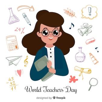 Composición con profesora en el día internacional del maestro