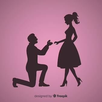 Composición de proposición de matrimonio con estilo de silueta