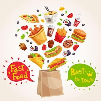 Composición de publicidad de comida rápida