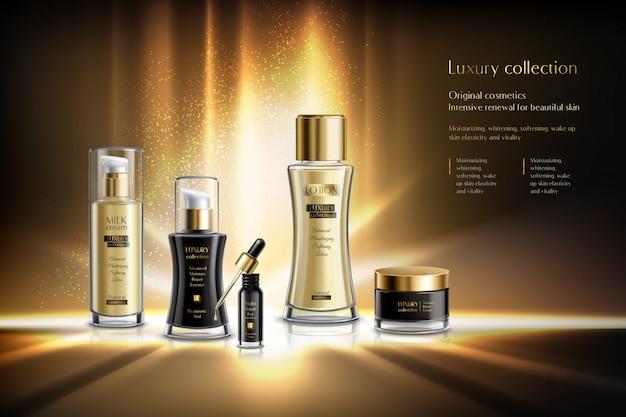 Composición de publicidad de cosméticos con colección de lujo renovación intensiva de cosméticos originales para ilustración de descripción de piel de belleza