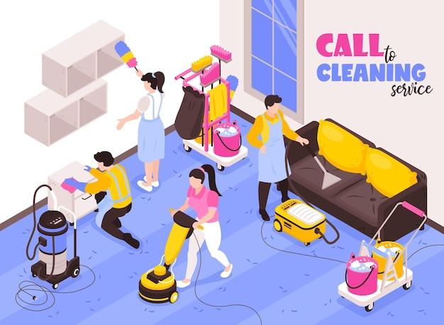 Composición de publicidad isométrica del servicio de limpieza con equipo profesional en el trabajo con aspiradoras ilustración de plumero de esponja