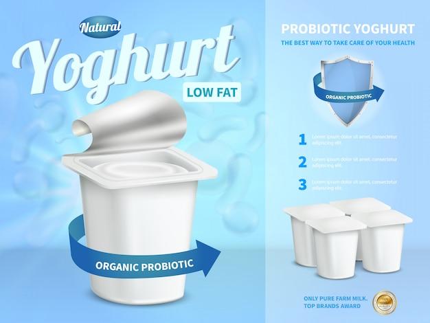 Composición publicitaria de yogur con yogur probiótico