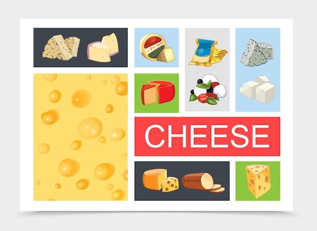 Composición de queso natural de dibujos animados con dorblu danablu raclette grano padano feta maasdam mozzarella gouda tipos ahumados y textura de queso realista